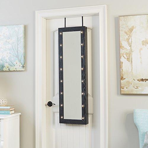weathered white black frame full length mirror over the door jewelry armoire zen merchandiser. Black Bedroom Furniture Sets. Home Design Ideas