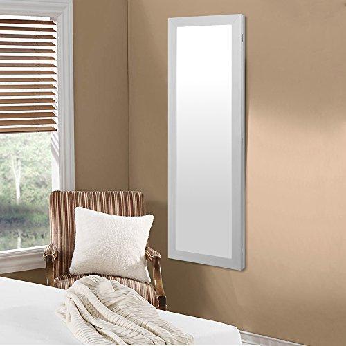 white full length mirror tall over the door white vanity jewelry armoire zen merchandiser. Black Bedroom Furniture Sets. Home Design Ideas