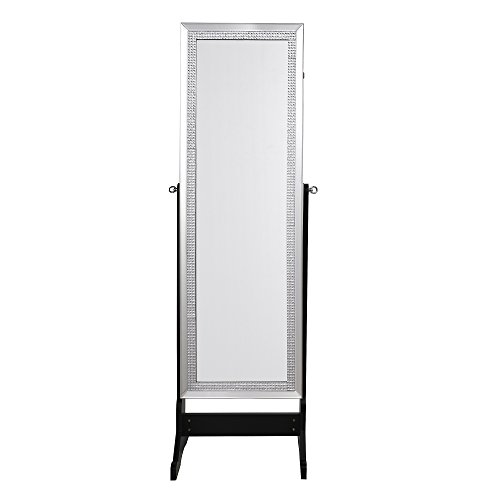 beautiful crystal decorated frame full length jewelry cheval armoire lockable mirror organizer. Black Bedroom Furniture Sets. Home Design Ideas