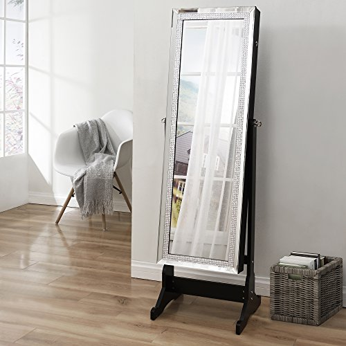 Crystal Decorated Frame Full Length Jewelry Cheval Armoire Lockable Mirror Organizer