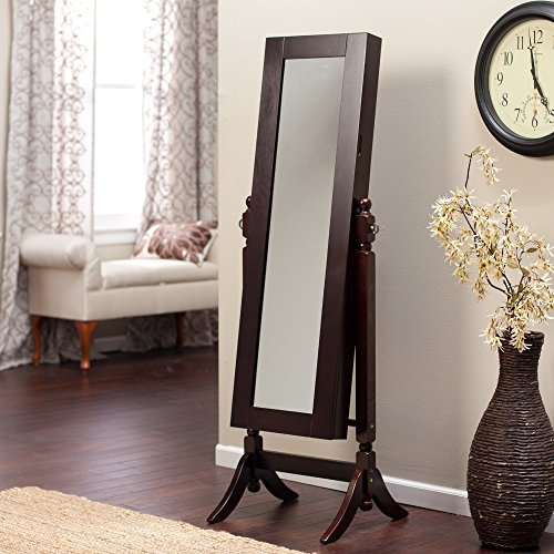 Elegant Brown Wooden Frame Full Length Mirror Wall Standing Jewelry ...