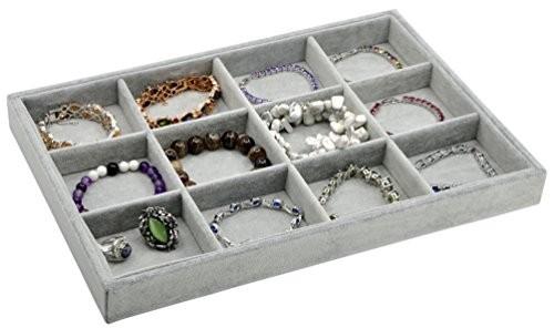 Image result for velvet 12 slots jewelry tray