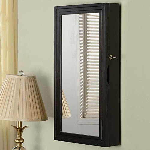 Black Wide Locking Wall Mounted Full Length Mirror Jewelry Armoire