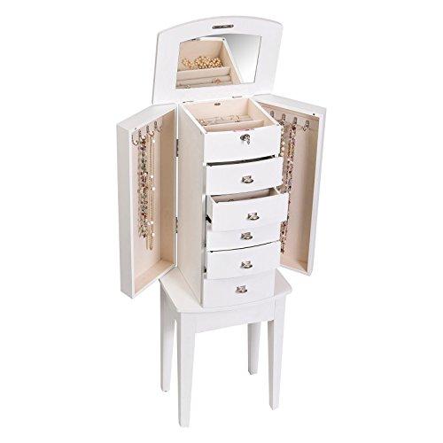 White small floor standing wooden locking elegant jewelry