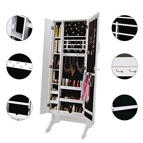 White Lockable Large Wide Floor Standing Mirror Jewelry Armoire