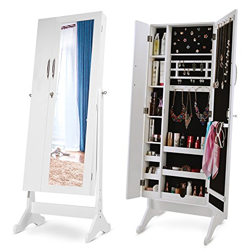 Merax Storage Jewelry Armoire Cabinet Free Standing ...