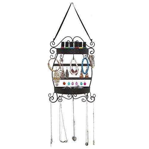 Wall Hanging Decorative Black Metal Jewelry Earrings Organizer
