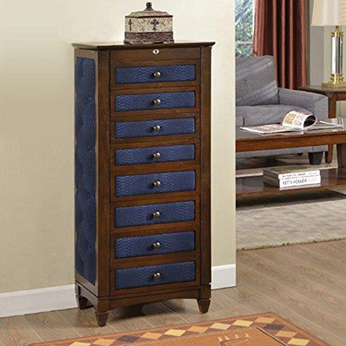 Beautiful Wall Standing Wooden Royal Blue Upholstered Large Jewelry