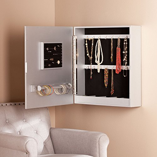 Beautiful Decorative Square Mirrored Wall Mounted Jewelry Armoire