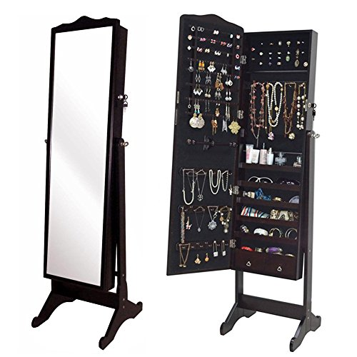 Dark Brown Floor Standing Jewelry Cabinet Full Length Mirror