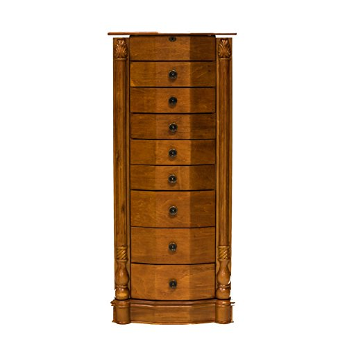 Beautiful Roman Honey Oak Classic Tall Floor Standing Jewelry