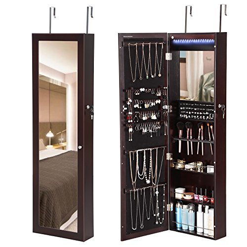 ... Tall Mirrored Over The Door Jewelry Armoire Organizer. ; 