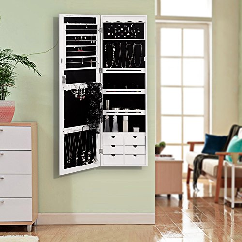 SONGMICS LED Jewelry Cabinet Armoire with 6 Drawers ...