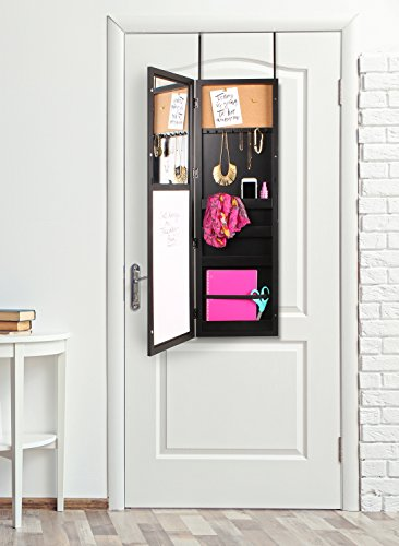 Simple Jewelry Storage Mirror Over The Door Black Locking Jewelry