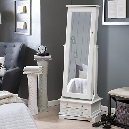 Elegant White Swivel Cheval Full Length Mirror Jewelry Armoire With