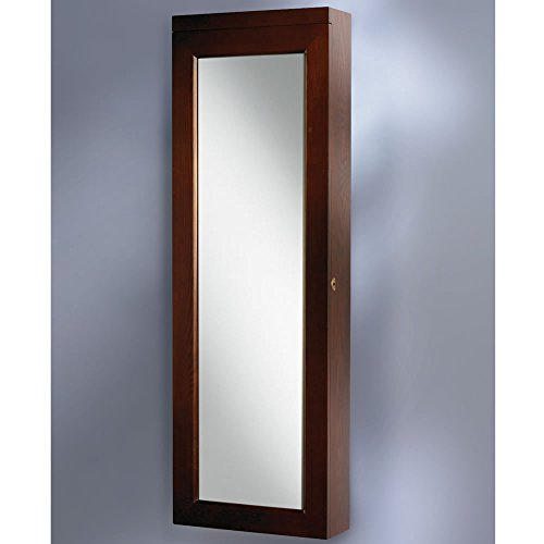 tall brown wooden frame 45 wall mounted lighted full length mirror jewelry armoire zen. Black Bedroom Furniture Sets. Home Design Ideas