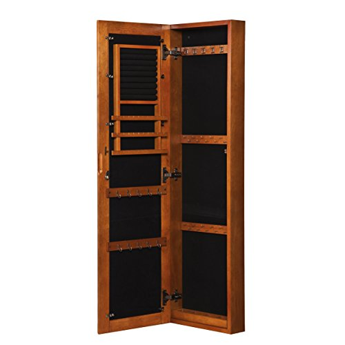 Oak Wall Hanging Full Length Mirror Jewelry Armoire Cabinet
