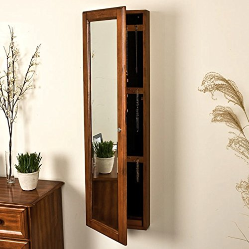 ... Oak Jewelry Armoire Wall Cabinet Mirror. ; 