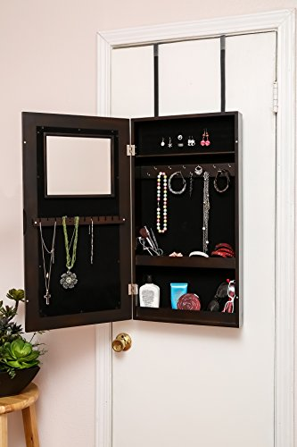 modern wall mounted hanging full mirror jewelry storage cabinet armoire zen merchandiser. Black Bedroom Furniture Sets. Home Design Ideas