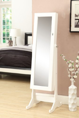 White Mirrored Jewelry Cabinet Armoire W Stand Mirror