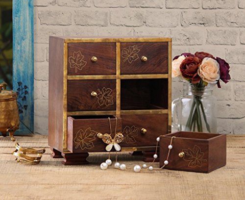 Small Decorative 6 Drawers Chest Shape Wall Standing Wooden Jewelry