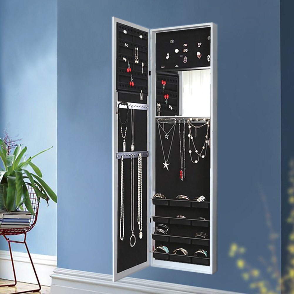 Black U0026 White Inside Mirror Wall Mounted Jewelry Armoire