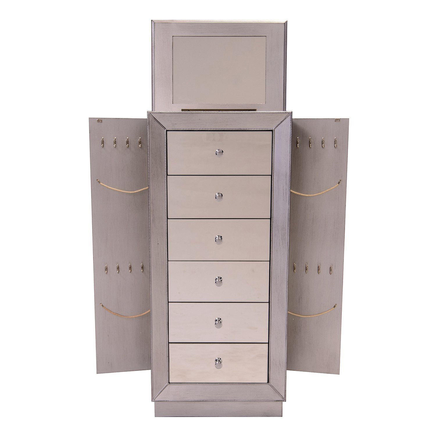 Beautiful Elegant Mirrored Large Capacity Free Standing Jewelry Armoire