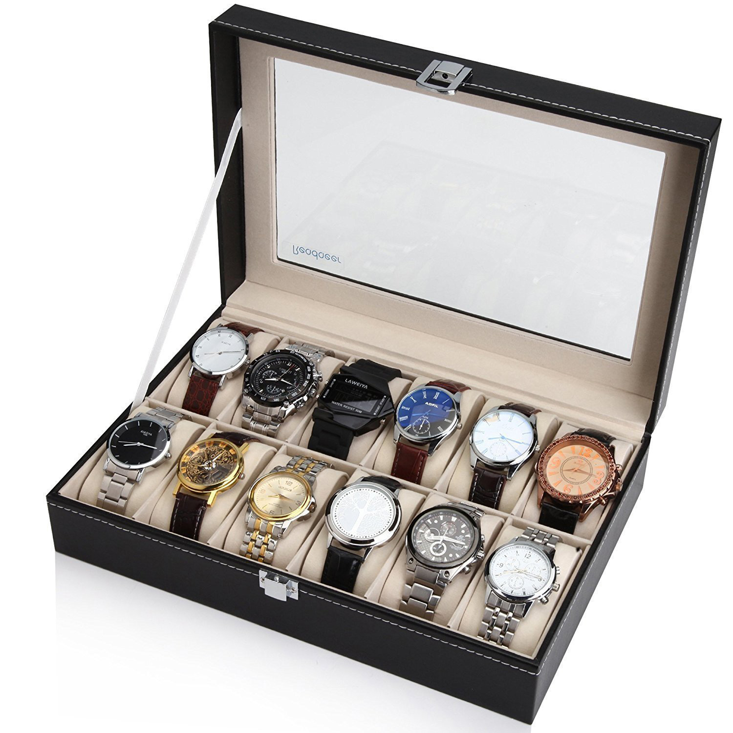 Compact 12 Slot Watch Display Holder Case with Glass Top