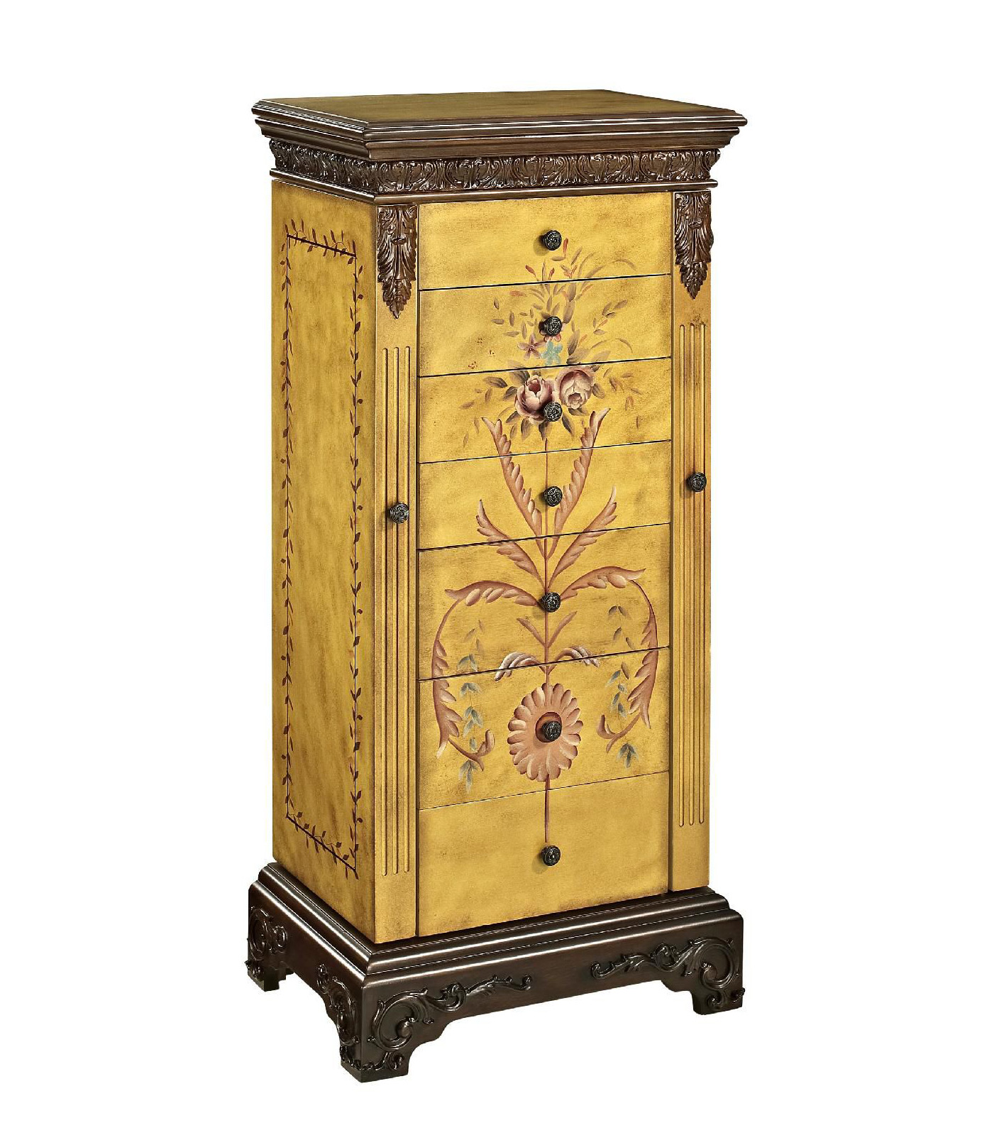 Creative Antique Decorative Gold Brown Wall Standing Jewelry Armoire