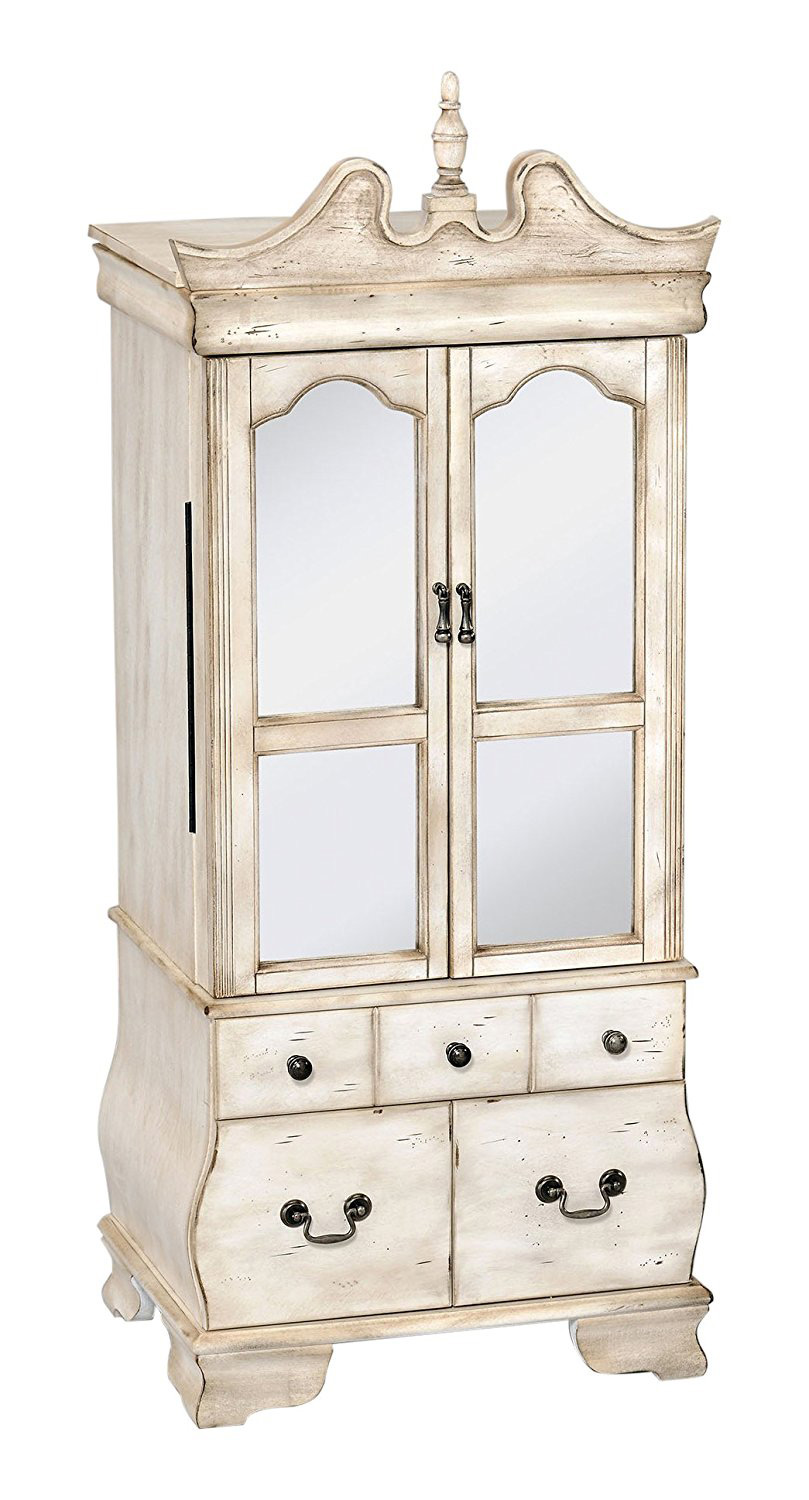 Beautiful Distressed White Antique Large Wall Standing Jewelry Armoire