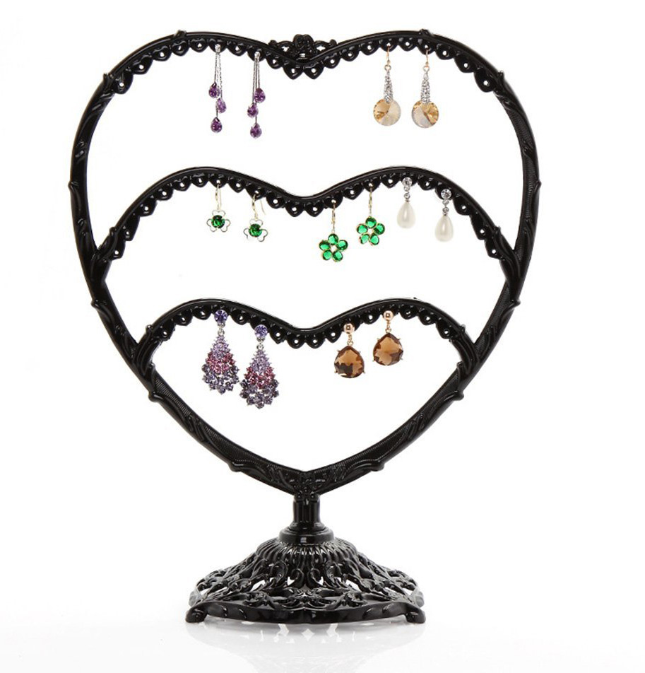Black Intricate Pattern Heart Shaped Earring Holder Stand
