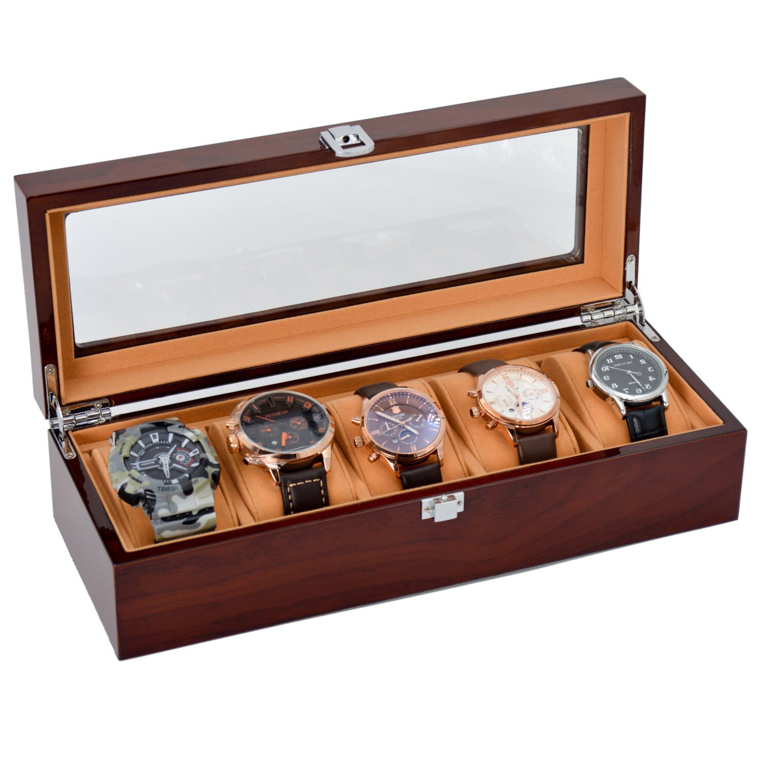 Dark Red Wide 5 Slot Watch Display Holder Case