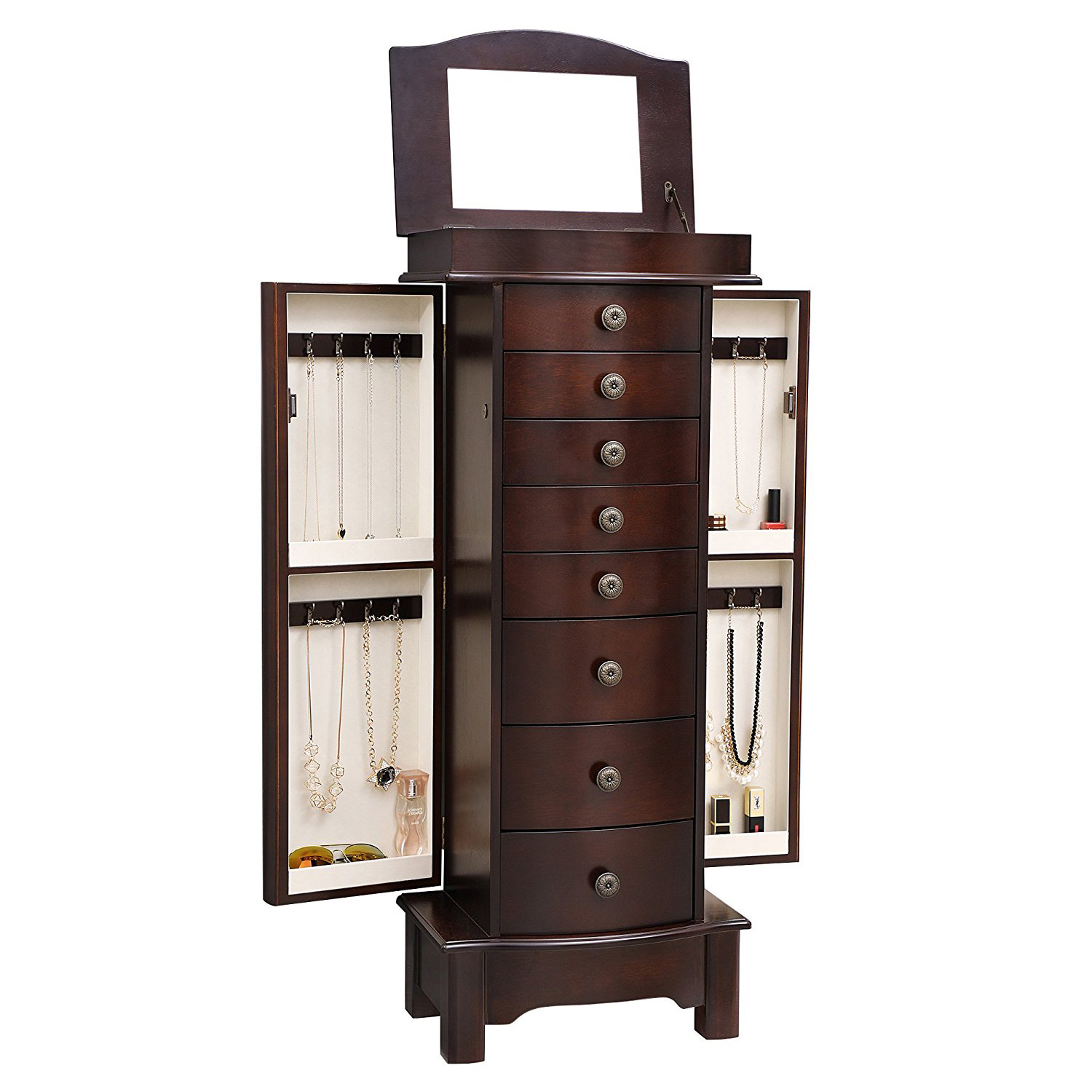 Elegant Brown Tall High Capacity Jewelry Armoire