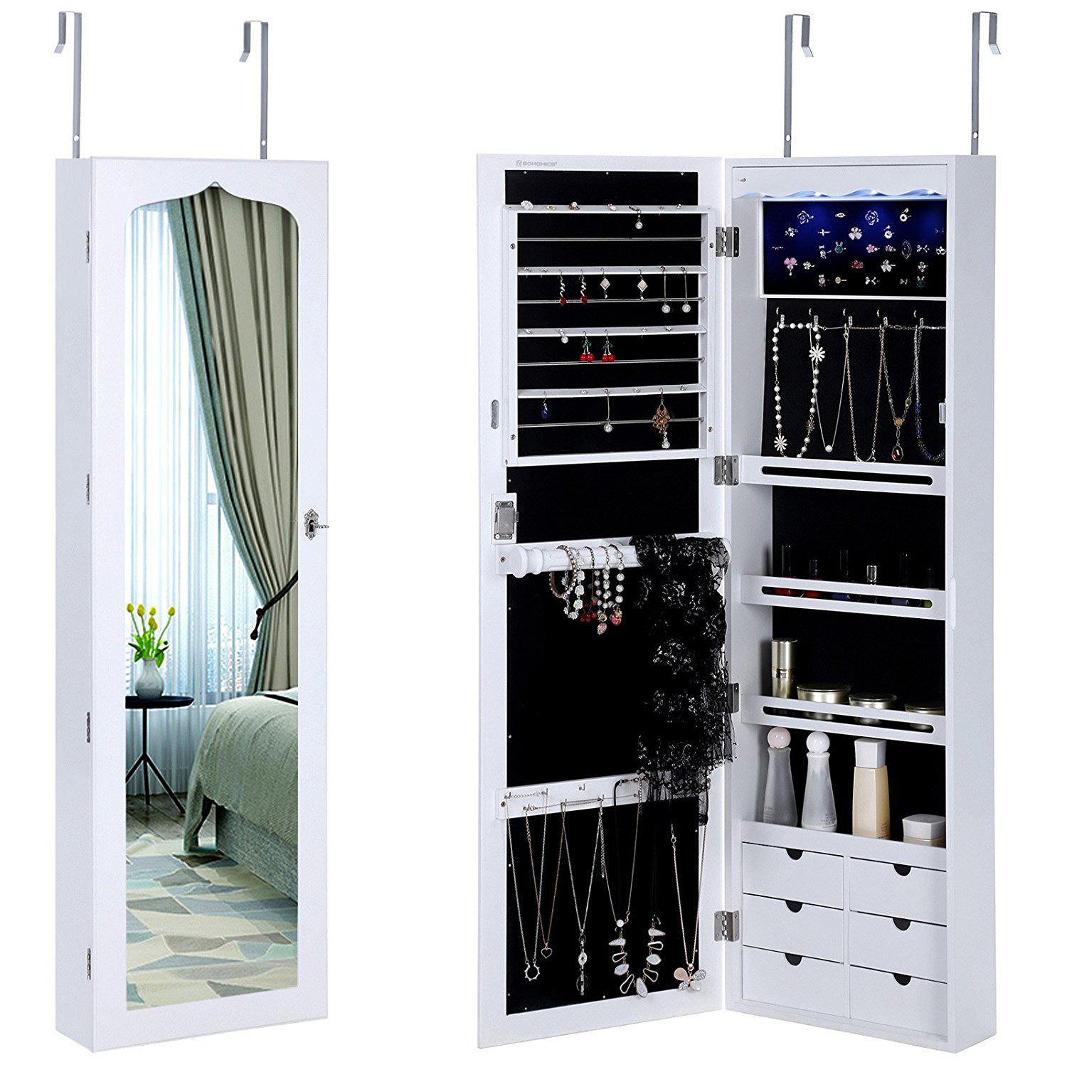 Full Length Mirror Over The Door White Jewelry Armoire
