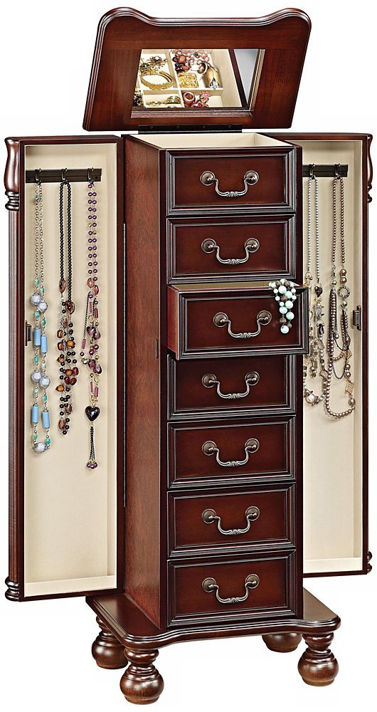Beautiful Vintage Design Brown Large Capacity Jewelry Armoire