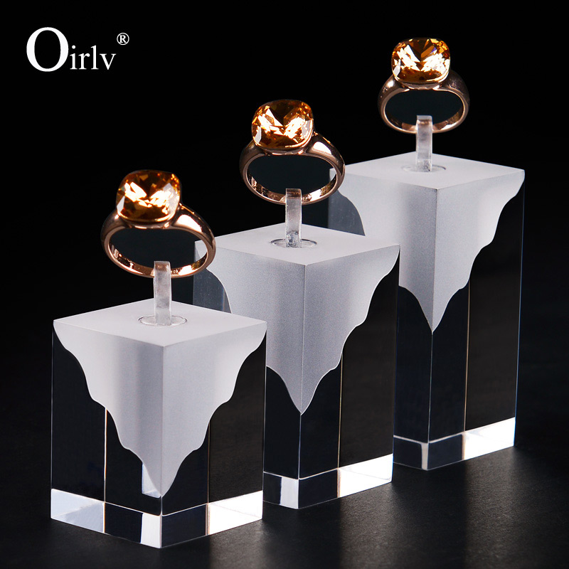 Elegant Black & White Acrylic Ring Holder Risers
