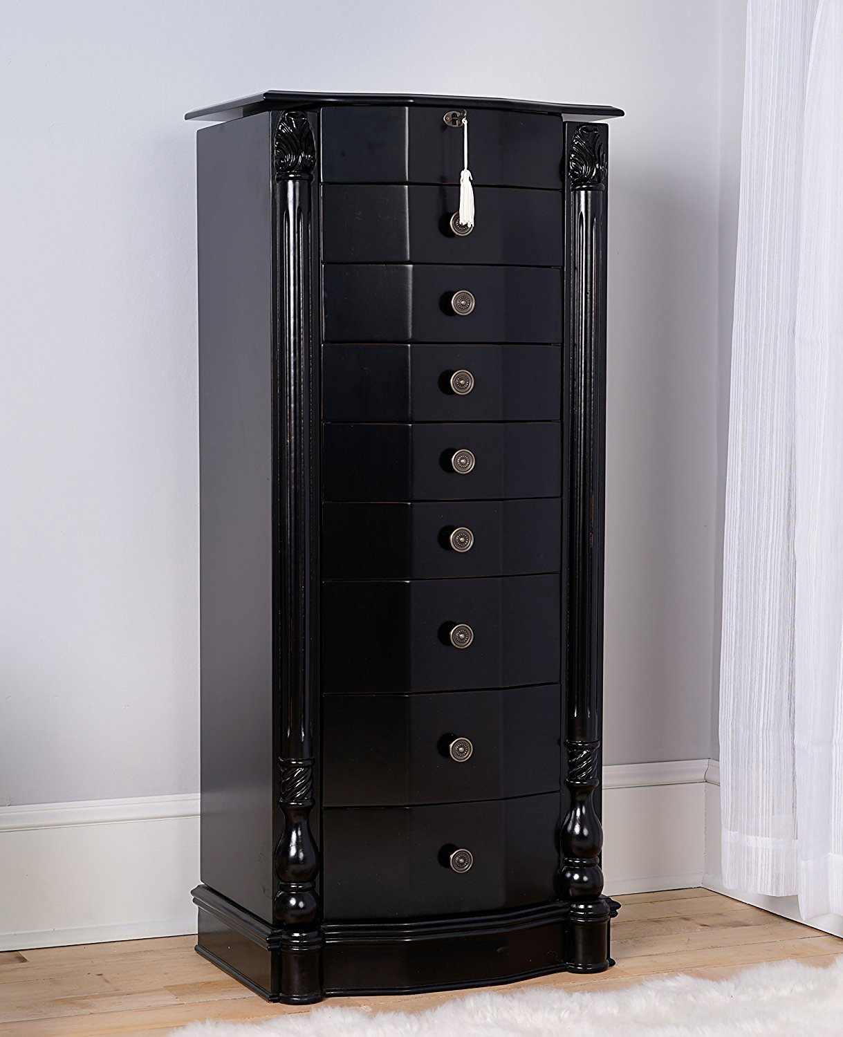 Elegant Glossy Black Large Wooden Jewelry Armoire