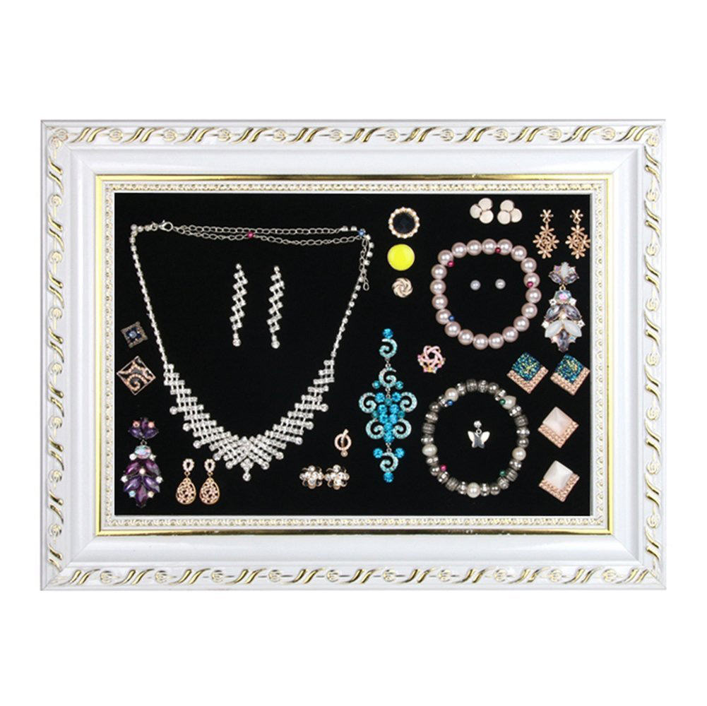The 15 best picture frame jewelry holders zen merchandiser beautiful gold trim black white picture frame jewelry holder jeuxipadfo Image collections