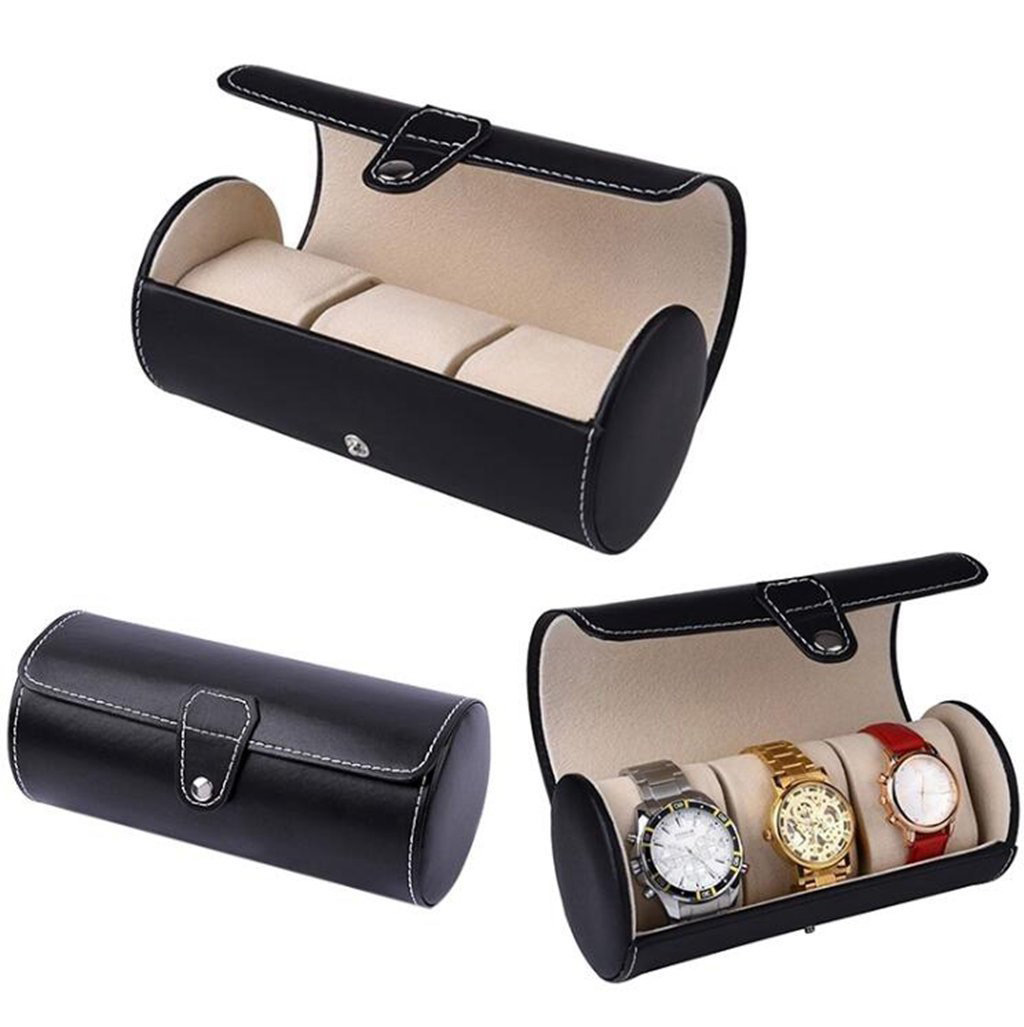 Creative Black Leather Cylinder Shaped Watch Holder