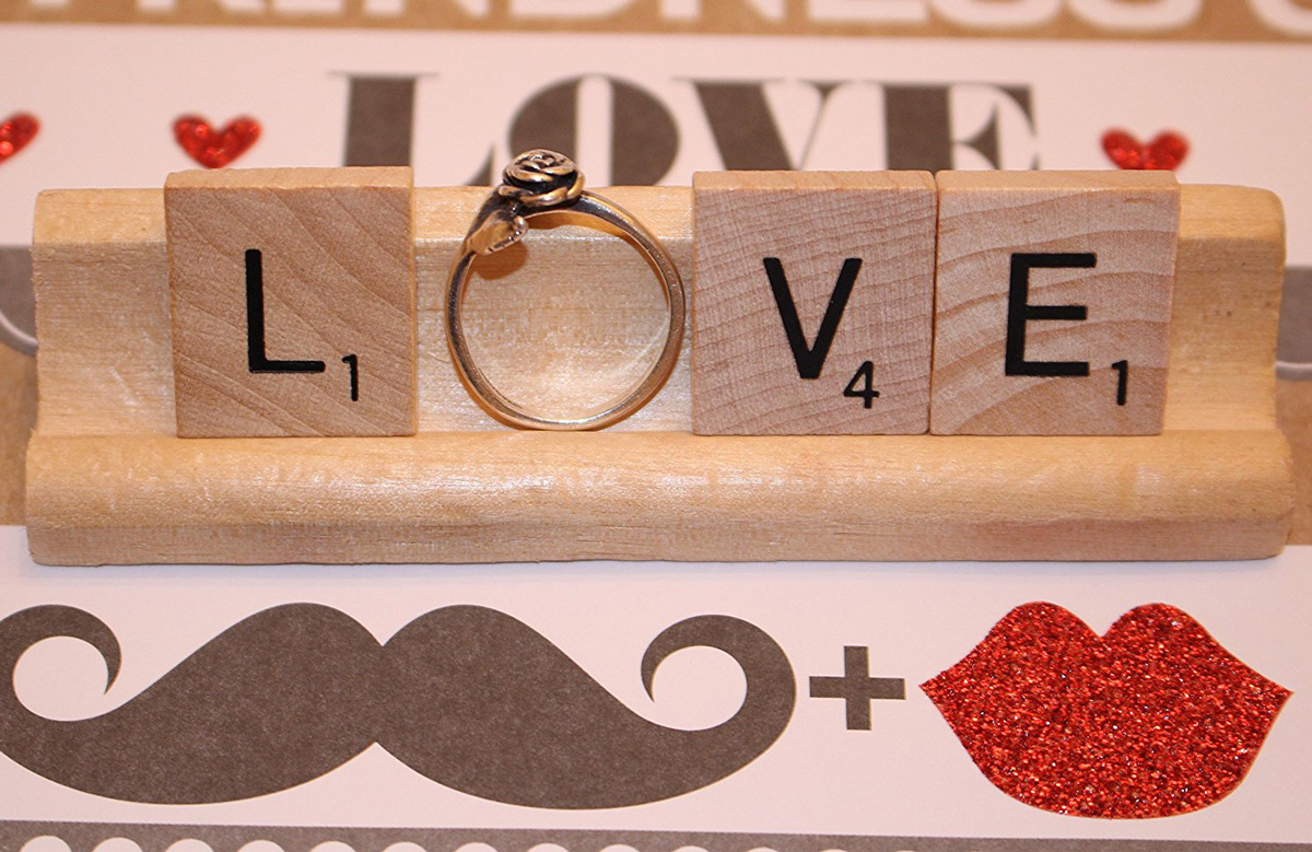 Cute Scrabble Themed Engagement Ring Holder
