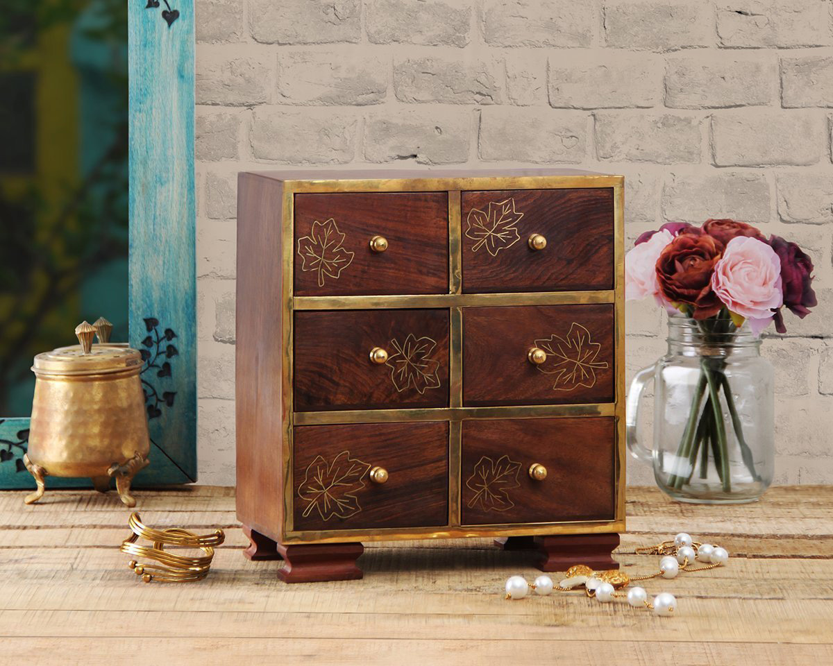 Cute Vintage Decorative Floral Theme Small Countertop Jewelry Armoire