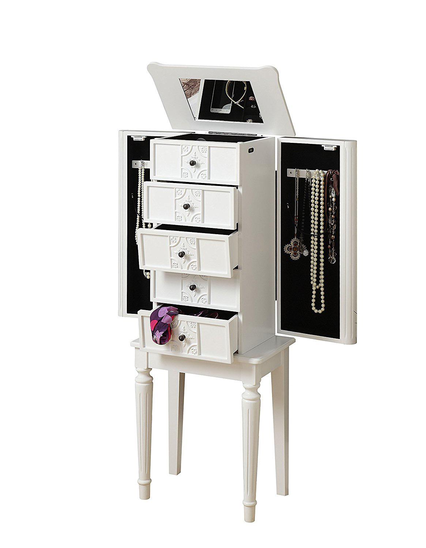 Elegant Decorative White Floor Standing Jewelry Armoire