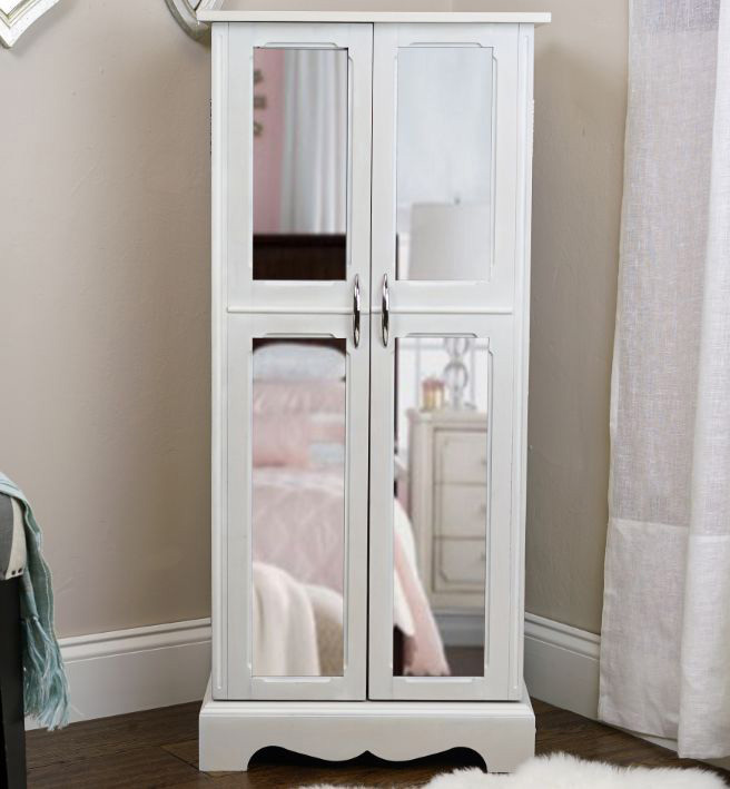 Simple White Floor Standing Mirrored Jewelry Armoire