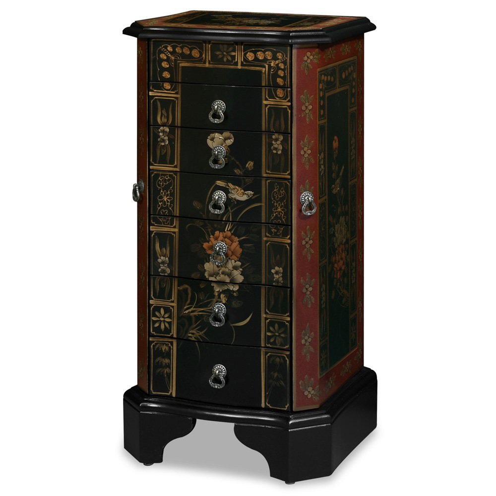 Beautiful Floral Theme Tall Jewelry Armoire