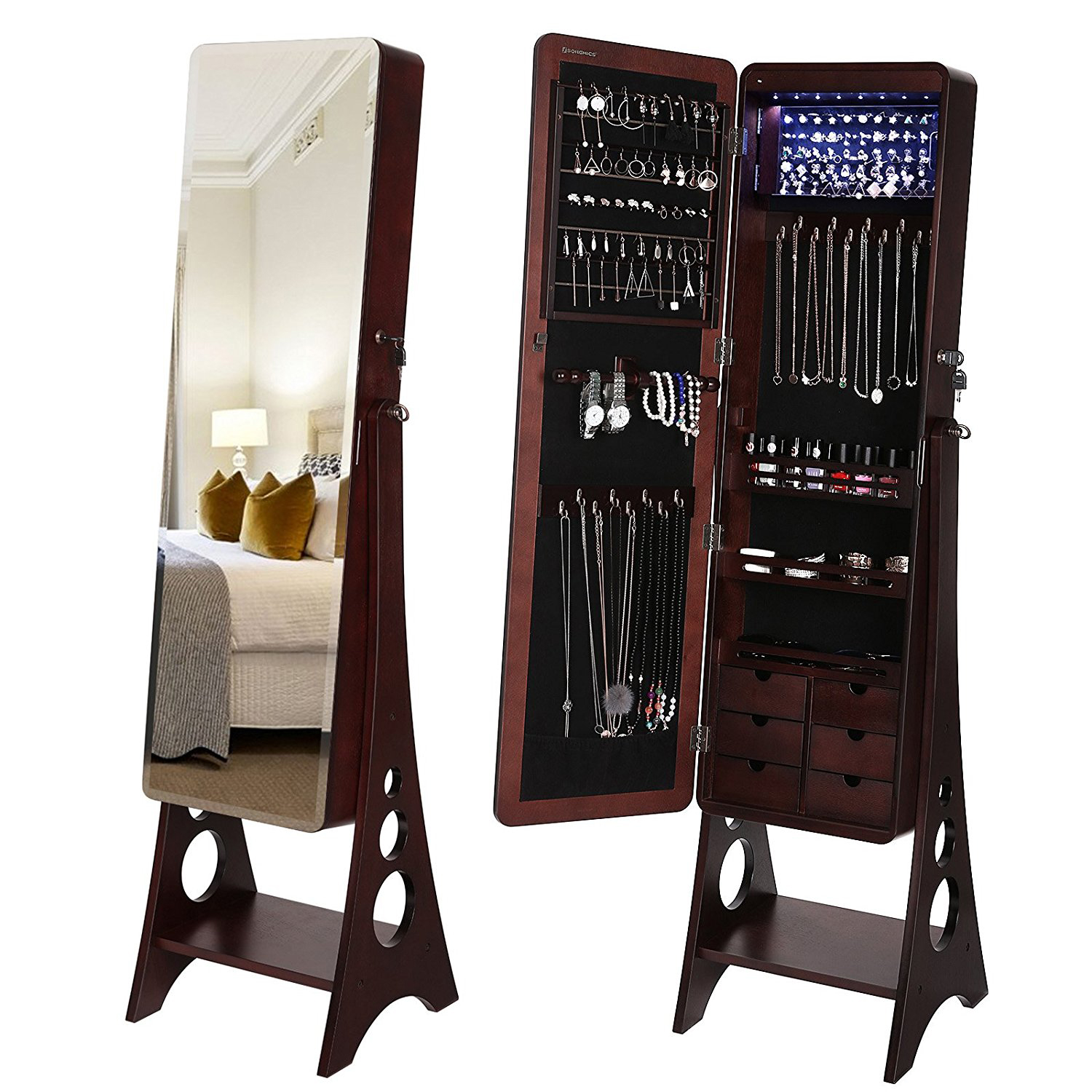 Dark Brown Free Standing Full Mirror Jewelry Armoire
