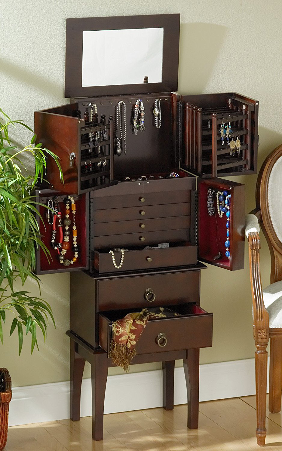 Elegant Dark Brown Large Capacity Wall Standing Antique Jewelry Armoire