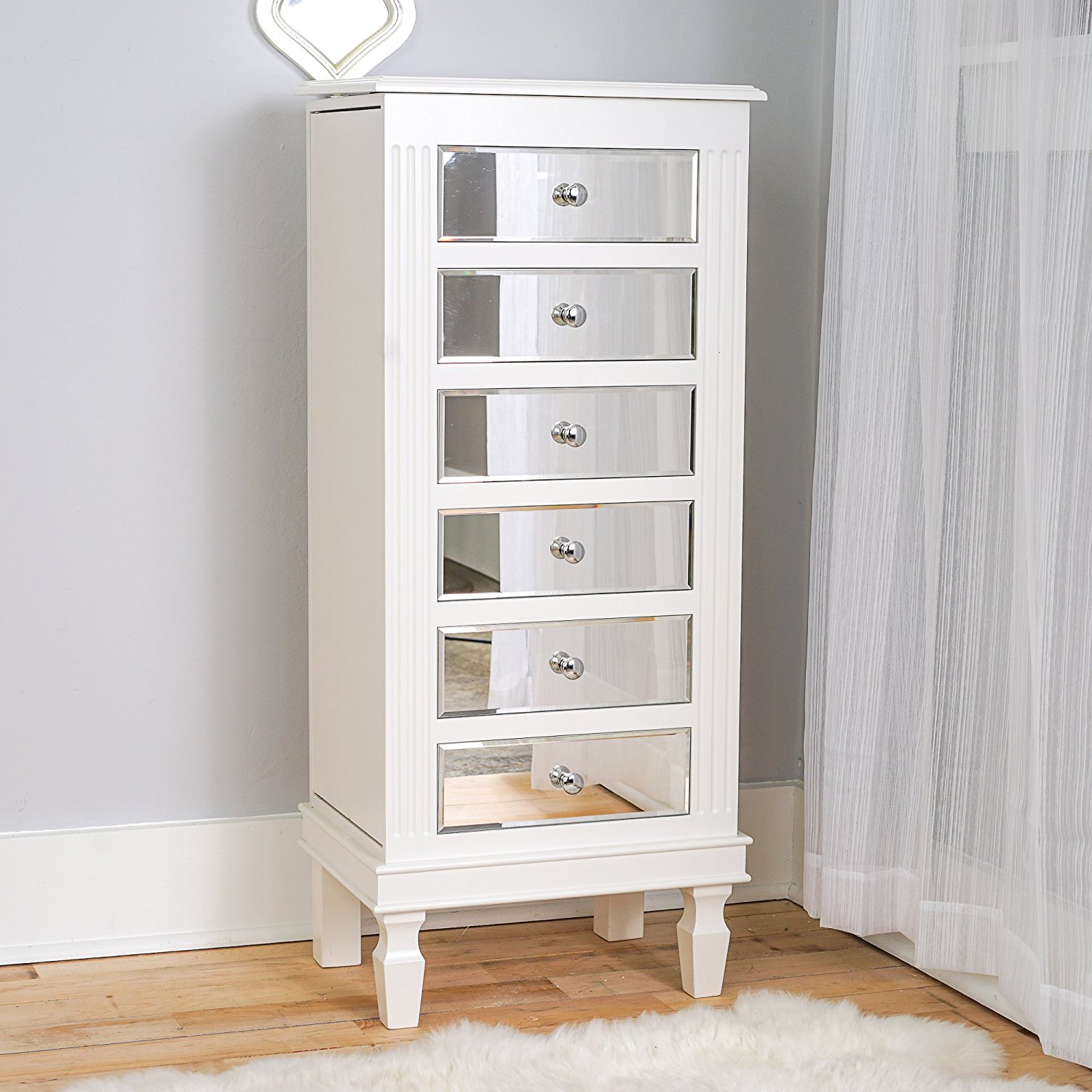 Elegant White Floor Standing Mirrored Drawers Jewelry Armoire