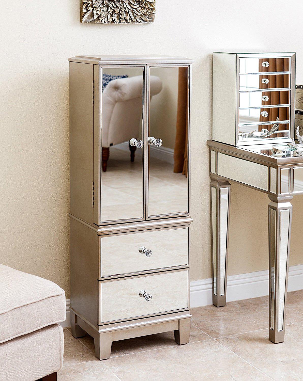 Premium Mirrored Surface Floor Standing Medium Jewelry Armoire