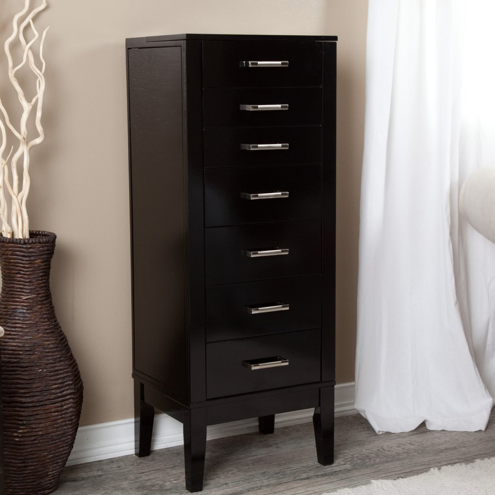 Tall Floor Standing Cabinet Jewelry Armoire