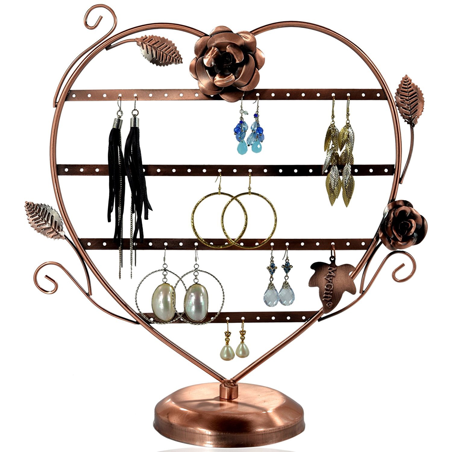 Beautiful Copper Heart Shaped Earring Holder Stand